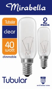 Mirabella Globe Tubular Clear SES 40W Pack of 2