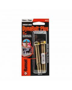 Ramset Dynabolt Hex Plus Gold Passivated 10mm x 75mm (2 Pack)