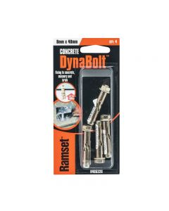 Ramset Dynabolt Gold Passivated 8mm x 40mm 180kg (4 Pack)