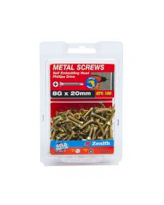 Zenith Metal Screws Countersunk Gold 8Gx20mm (100 Pack)
