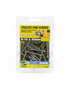 Zenith Treated Pine Screws Tufcote 8-10x4545mm (50 Pack)