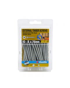 Zenith External Timber Screws Galvanised 10-8x75mm (50 Pack)