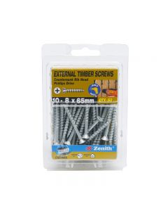Zenith External Timber Screws Galvanised 10-8x65mm (50 Pack)