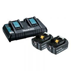 Makita 18V Lithium-ion Dual Port charger DC18RD & 5.0Ah Batteries BL1850B X2 198928-5