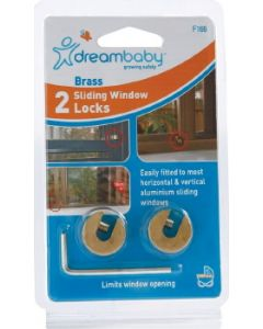 Dreambaby Brass Sliding Window Locks with Key Pk2
