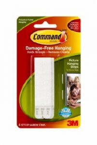 Command Picture Hanging Strip Narrow White 4 Pack