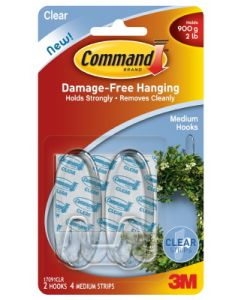 Command Medium Hook Clear 2 Pack