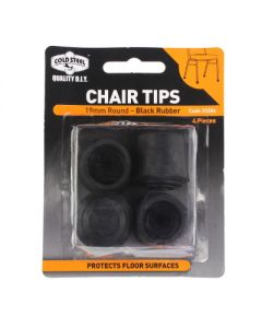 Tip Chair Rubber Black Round 19Mm Pk4