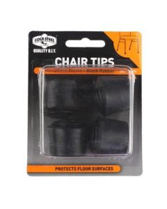 Tip Chair Rubber Black Round 25Mm Pk4