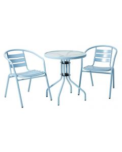 Cancun 3 Piece Steel Cafe Setting Blue