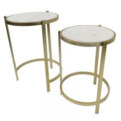 Retro Marble Side Tables Set of 2