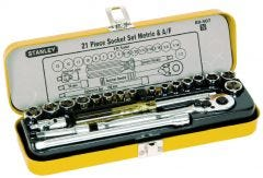 "Stanley 21 Piece 1/4"" Drive Metric & A/F Socket Set"