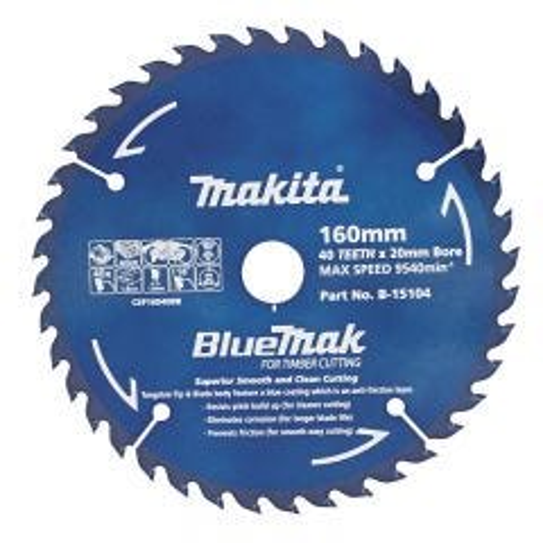 Makita Saw Blade Blue Mak 160mm 20mm bore 40T