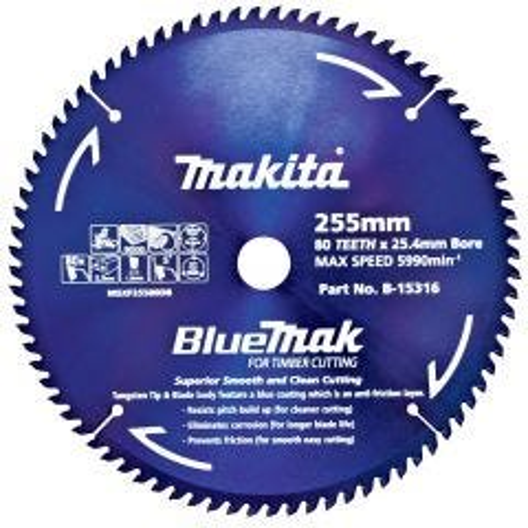 Makita Saw Blade Blue Mak 255mm 25.4mm bore 80T