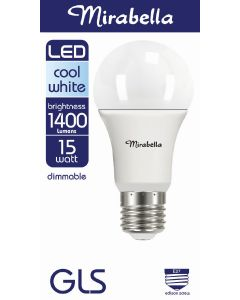 Mirabella LED Globe GLS 15w Dimmable ES Cool White Pearl