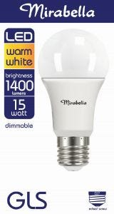 Mirabella LED Globe GLS 15w Dimmable ES Warm White Pearl