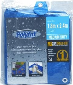 Polytuf Medium Duty Blue Tarpaulin 1.8 x 2.4m