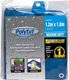 Polytuf Medium Duty Blue Tarpaulin 1.2 x 1.8m