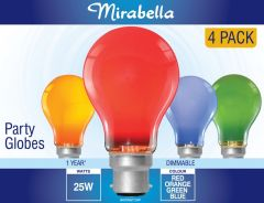Mirabella Globe Assorted Colours GLS BC 25W Pack of 4