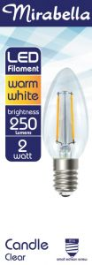 Mirabella LED Globe Filament Candle 2w SES Warm White