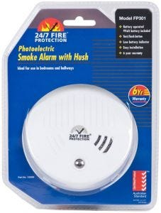 Photoelectric Smoke Alarm with Hush