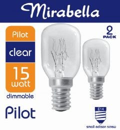 Mirabella Globe Pilot Clear SES 15w Pack of 2