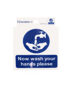Sign Self Adhesive 75 x 75mm Now Wash your hands please