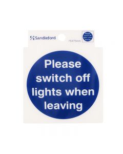 Sign Self Adhesive 75 x 75mm Please swith off all lights