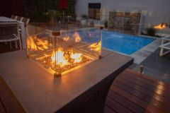 Backyard Elements Gas Fire Pit Grey with Reflective Glass