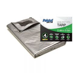Polytuf Silver/Black Extra Heavy Duty D-Ring Tarp 2.4 x 3.0