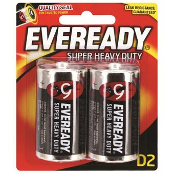 Eveready Super Heavy Duty Battery D - 2 Pack