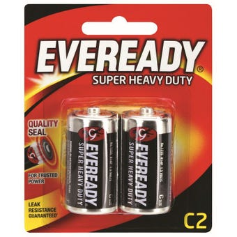 Eveready Super Heavy Duty Battery C - 2 Pack
