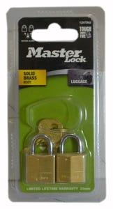Master Lock Key Aliked Brass Padlock Pack 2 19mm