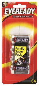 Eveready Super Heavy Duty Battery C 4 Pack