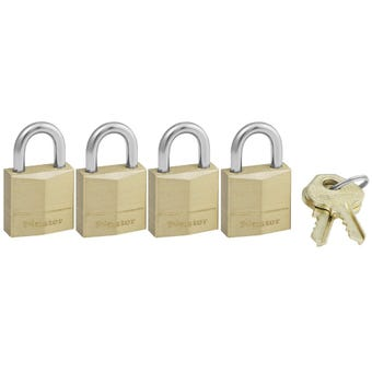 Master Lock Brass Padlock 20mm 4 Pack