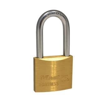 Master Lock Fortress Economy Long Shackle Padlock Brass 40mm