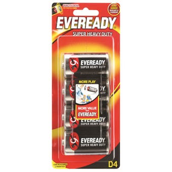 Eveready Super Heavy Duty Battery D - 4 Pack