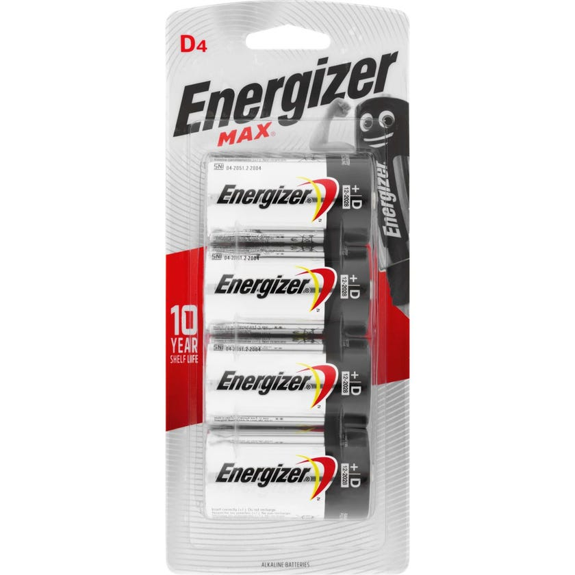 Energizer Max Battery D - 4 Pack