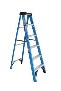 Werner Industrial Step Ladder Fibreglass Single Sided 1.8m 120kg