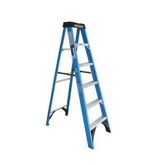 Werner Industrial Step Ladder Fibreglass Single Sided 1.8m 120kg