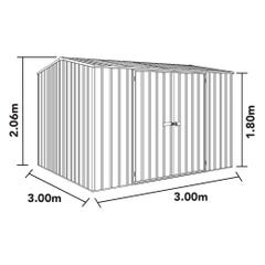 Absco Eco-Nomy Shed Pale Eucalypt 3.00W x 3.00D x 2.06mH