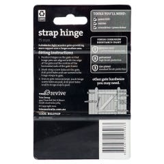 Trio Strap Hinge Zinc Plated 75mm - 2 Pack