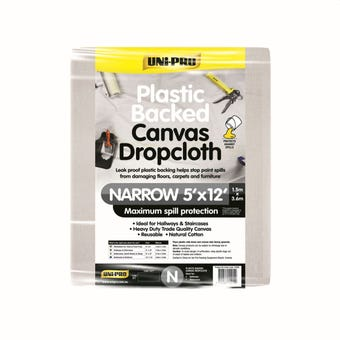 Uni-Pro Plastic Backed Canvas Dropcloth 1.5m x 3.6m