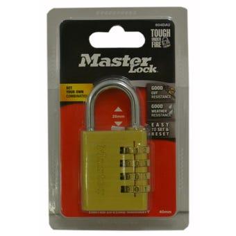 Master Lock Combination Padlock Brass 40mm