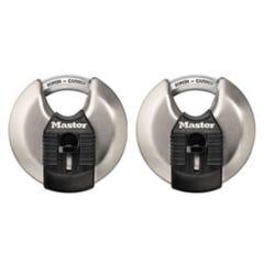 Master Lock Magnum Stainless Steel Disc Padlock 2 Pack 70mm