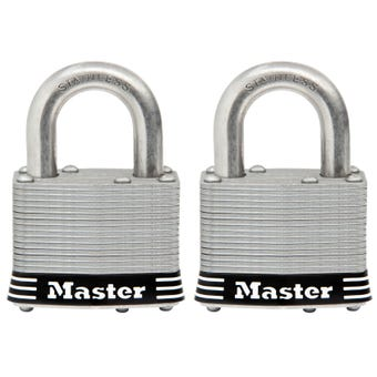 Master Lock Stainless Steel Keyed Alike Laminated Padlock 2 Pack 51mm