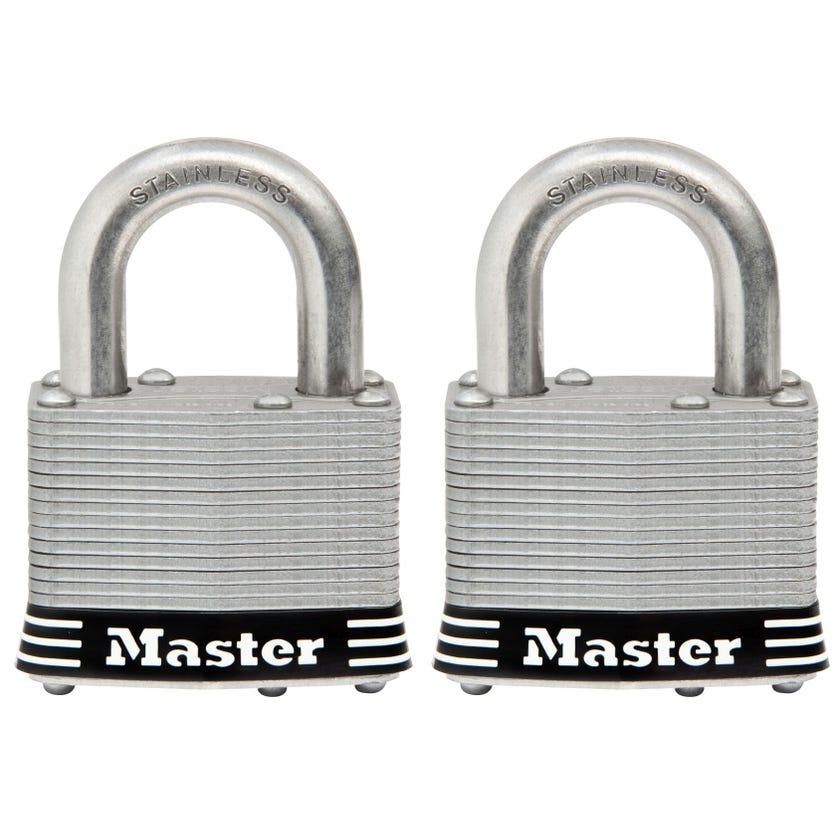 Master Lock Stainless Steel Keyed Alike Laminated Padlock 2 Pack 51mm