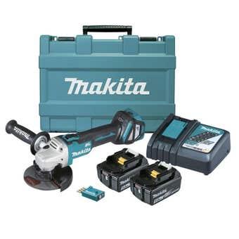 "Makita 18V Brushless Angle Grinder Kit 125mm (5"") DGA512RTEU"