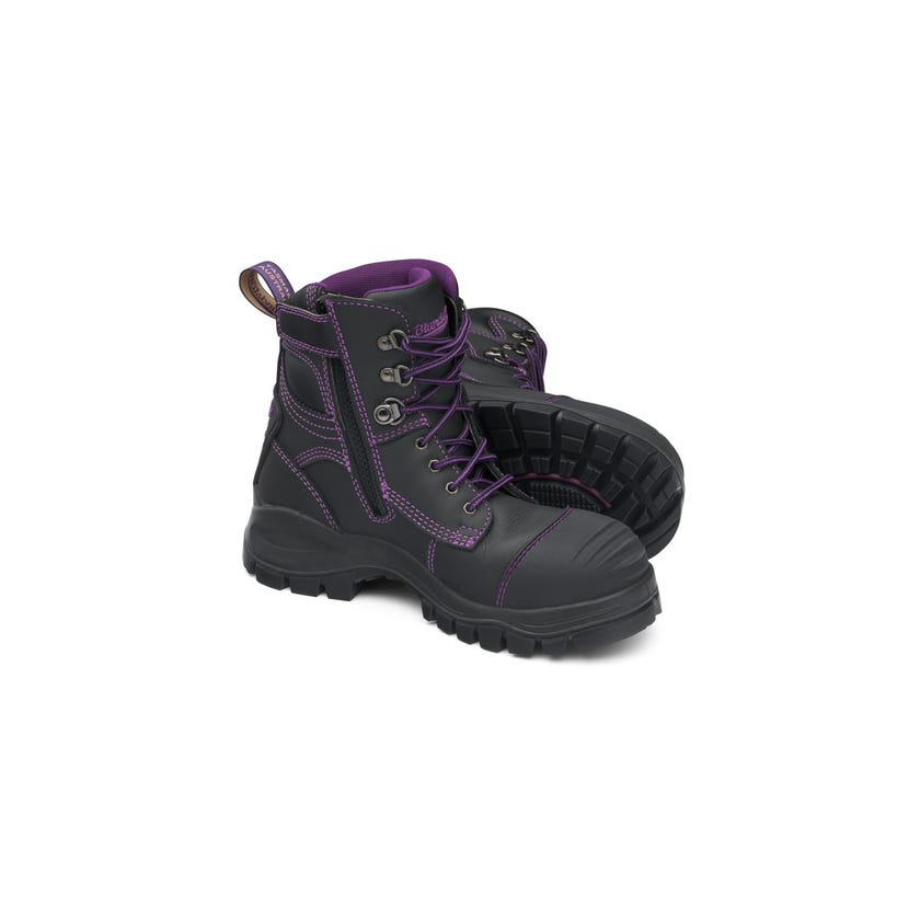 Blundstone Women's Water-Resistant Leather Zip Side Safety Boot Black 897