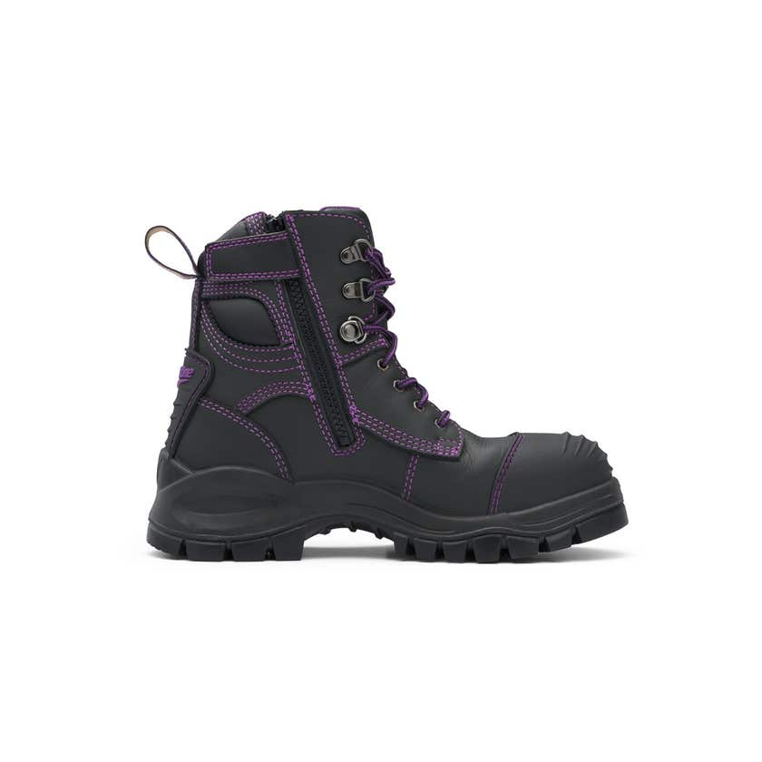 Blundstone 897 Women's Water-Resistant Leather Zip Side Safety Boot Black